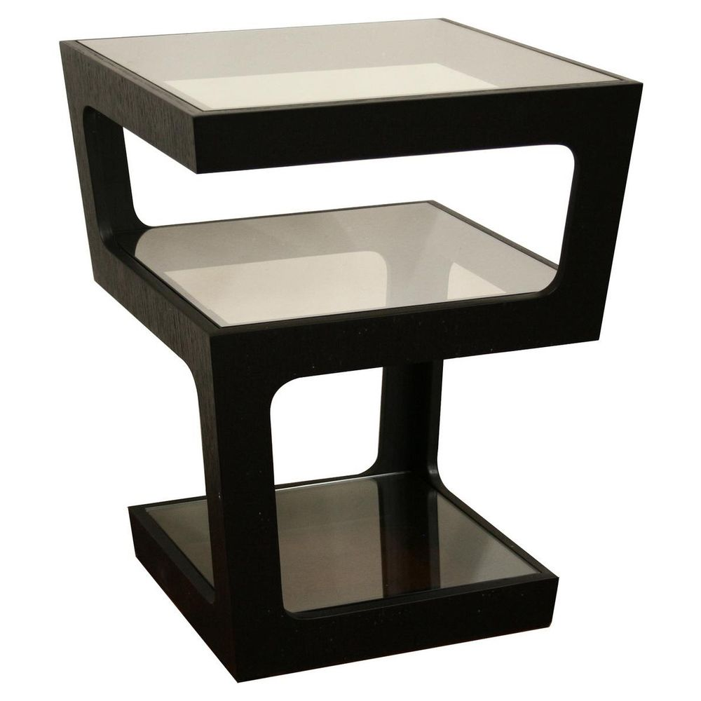 clara modern tall black tiered end table  overstockcom . clara modern tall black tiered end table  overstockcom
