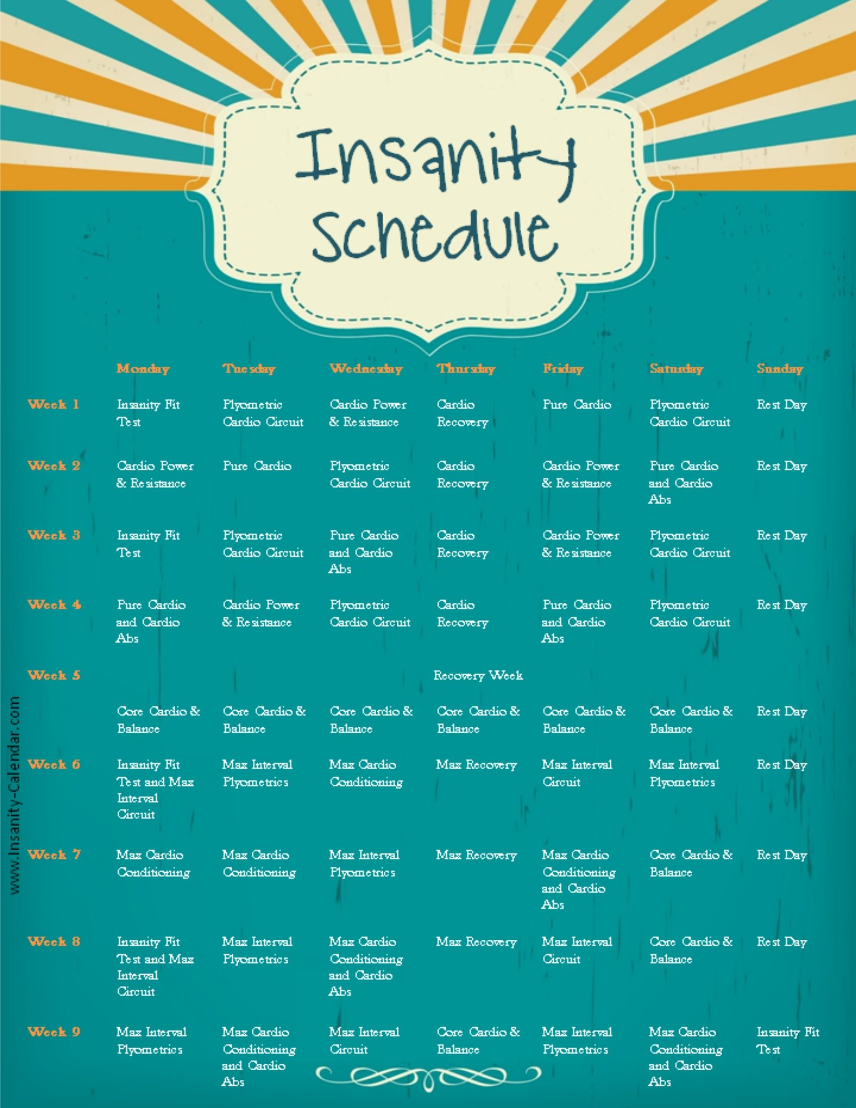 photo relating to Insanity Workout Schedule Printable titled madness training agenda Health and fitness Physical fitness Madness