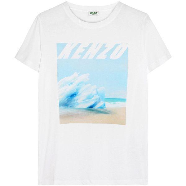 c7b5e4a81e492 KENZO Printed cotton-jersey T-shirt (807820 PYG) ❤ liked on Polyvore