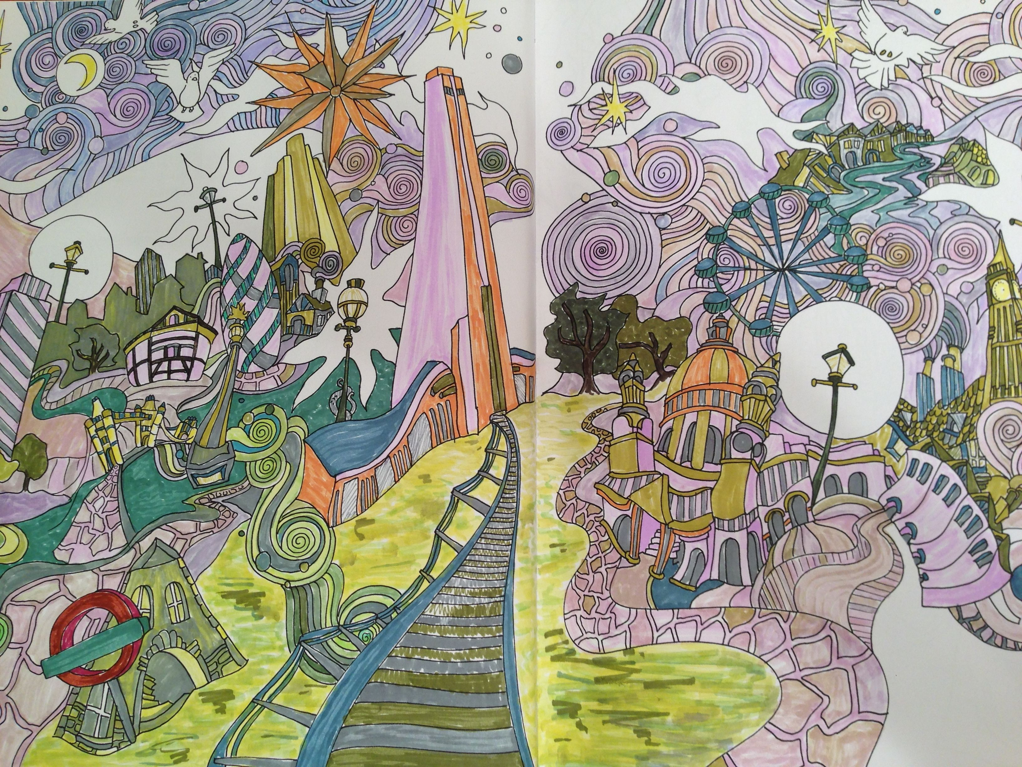 London Panorama From The Magical City Colouring Book By Lizzie Mary Cullen Coloured