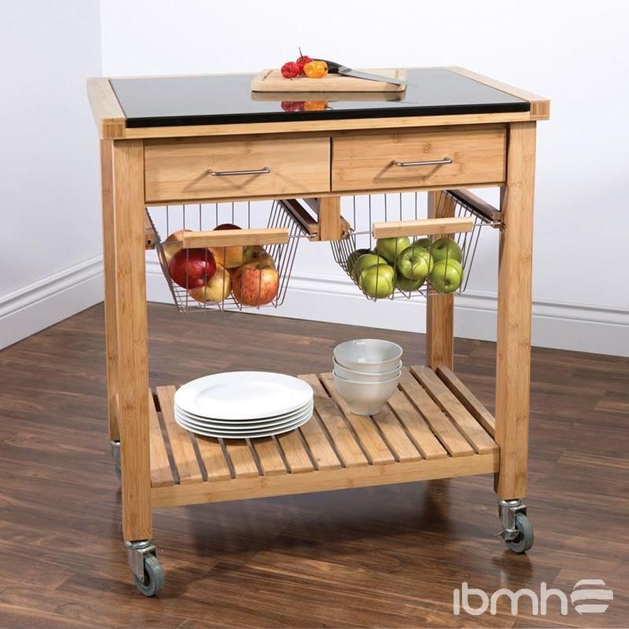 Kitchen Side Table Trolley | Rustic kitchen cabinets ...