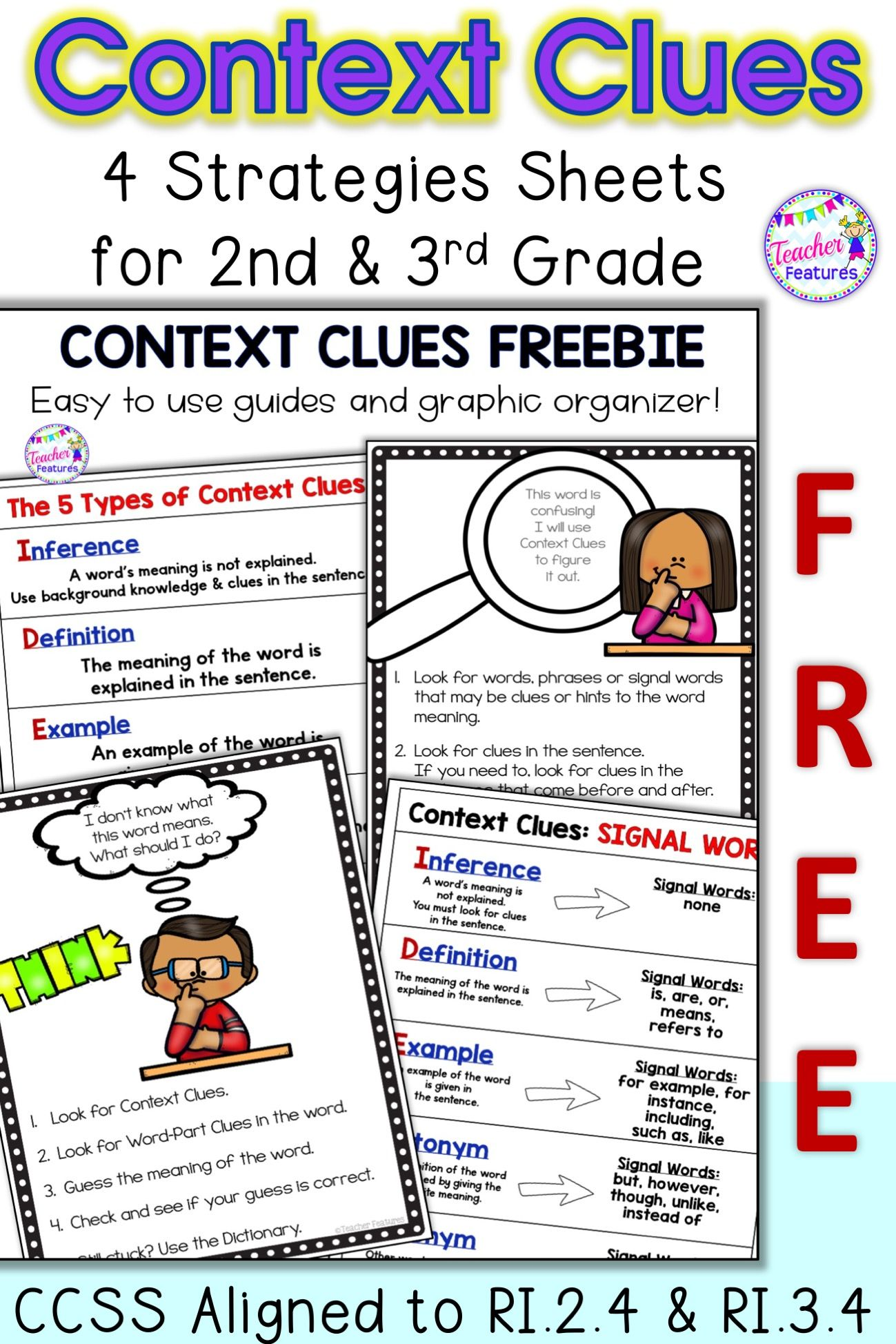 Get This 4 Page Reading Strategy Resource Free Easily Teach Context Clues And Signal Words Use The Posters As A Stu Context Clues Reading Strategies Teaching What is context in reading why is it