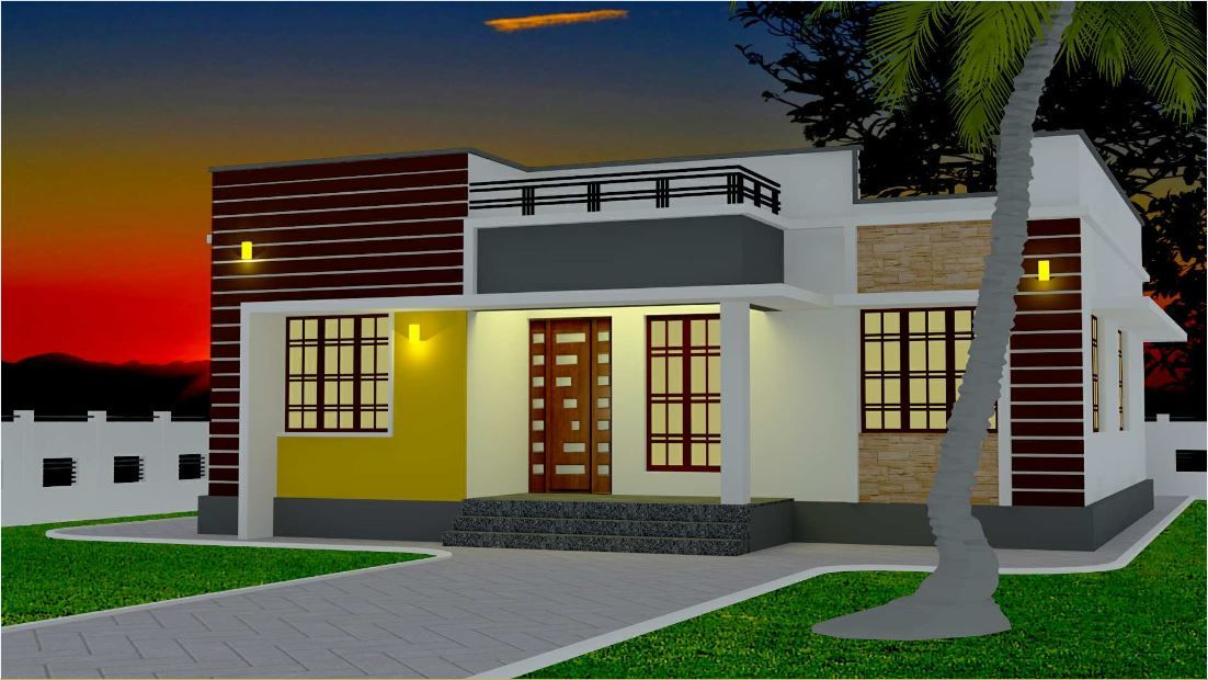 1200 Square Feet 3 Bedroom Modern Single Floor House And Plan 16 Lacks Home Pictures In 2020 Village House Design Kerala House Design Kerala Houses