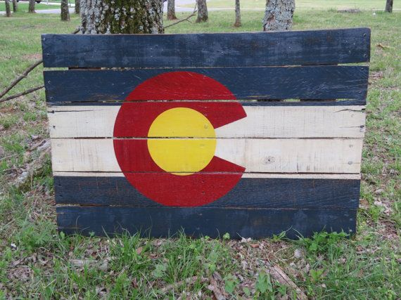 Colorado State Flag, Hand Painted on Reclaimed Wood - Wall Hanging - 39
