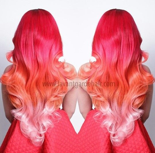 Love This Pink Orange Ombre Hair When My Is Mermaid Length I Wanna Do Something Like