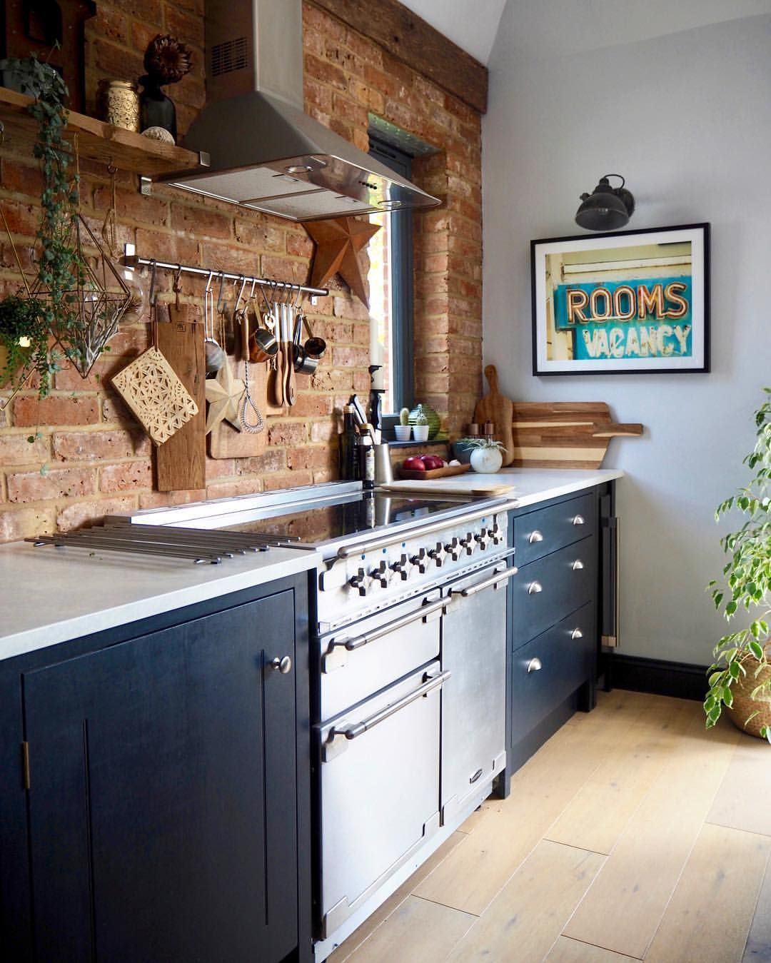 Exposed Brick Blue Kitchen Modern Rustic Kitchen Hornsby Style Rustic Modern Kitchen Kitchen Design Brick Wall Kitchen