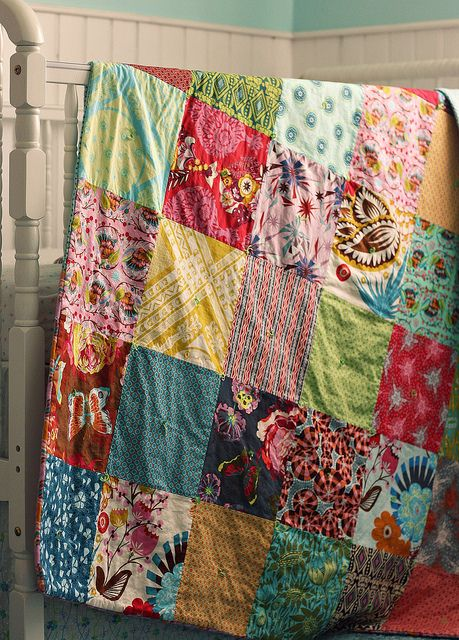 This Must Be A Vintage, Ultra Simple, Tied, Patchwork Coverlet. Iu0027