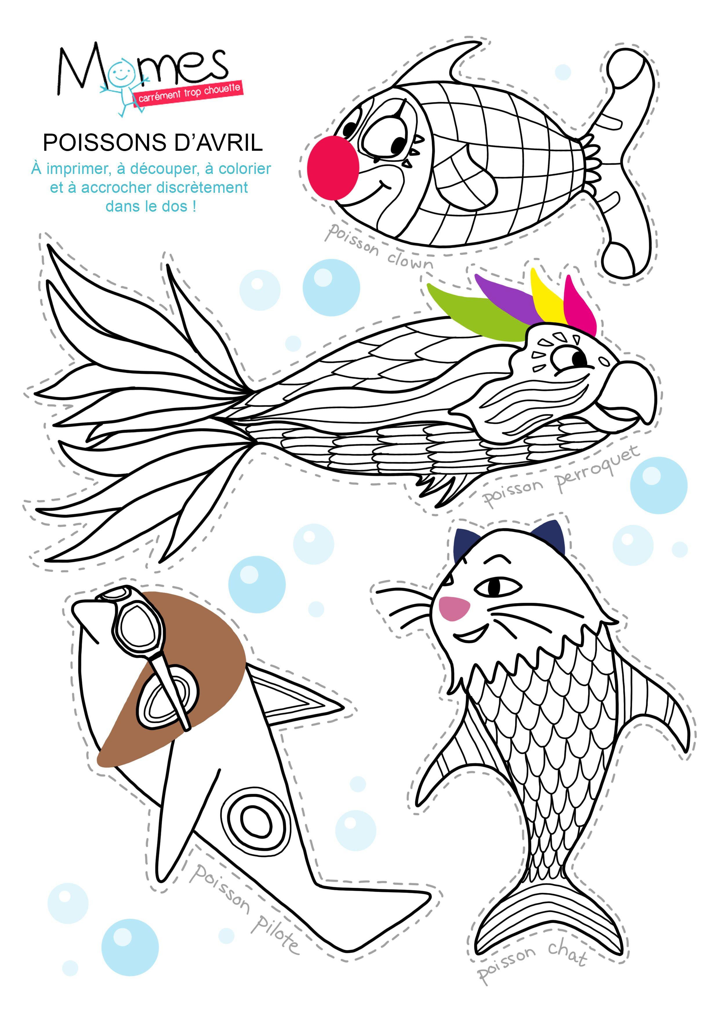 De dr les de poissons d 39 avril colorier diy - Poissons a colorier ...