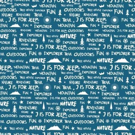 Jeep Words on Blue - Riley Blake Cotton - 1/2 yard - Funky ...