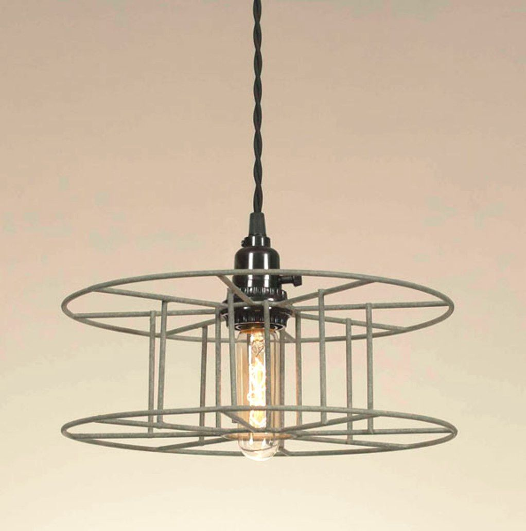 Rustic Industrial Warehouse Wire Spool Pendant Light With