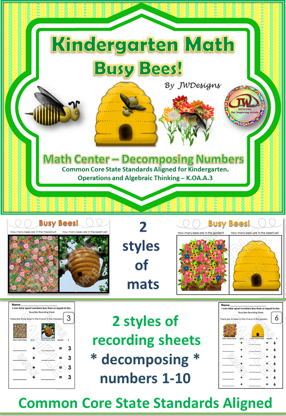 Decomposing Numbers 1-10 Math Centers and Activities   Bee cards ...