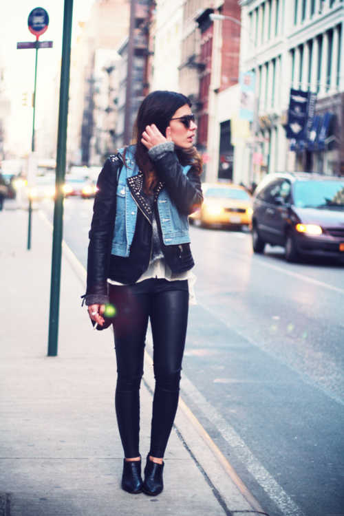 jean vest over leather jacket | Fashion Fanatic | Pinterest ...