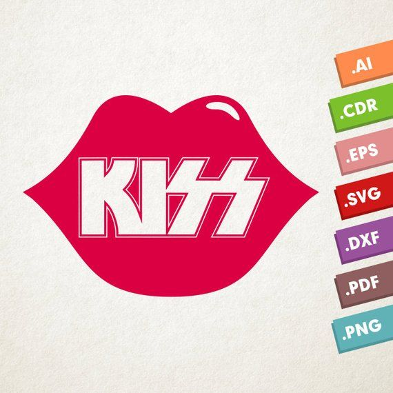 Download KISS logo with lips - SVG Vector file. Kiss lips. Instant ...