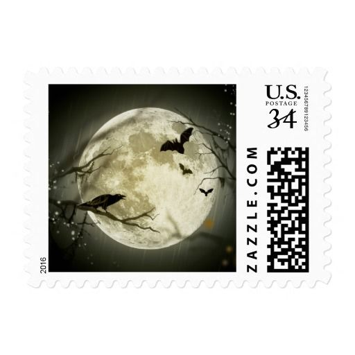 Bats fly Crow sits in Front of Halloween Full Moon Stamp