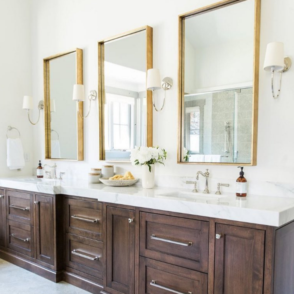 A Luxurious Triple 3 X Bathroom Mirrors Are Always Better Than One Our Friends At Studiomcgee N Bathroom Interior Design Bathroom Interior Bathrooms Remodel