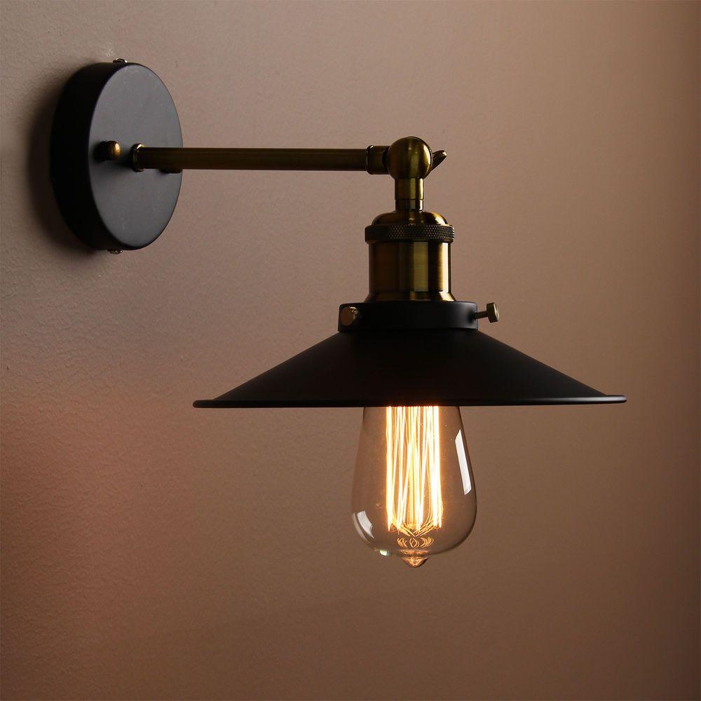 Modern Vintage Industrial Loft Metal Black Rustic Sconce Wall Light Wall Lamp Svetilniki Osveshenie Sten Nastennye Svetilniki