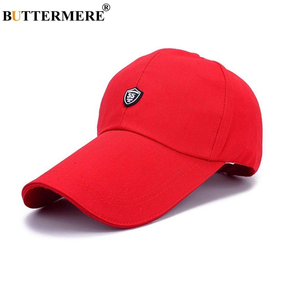 f2cf377819 BUTTERMERE Red Baseball Caps Golf Sun Cap Mens Long Brim Adjustable  Snapback Hat Outdoors Summer Casual