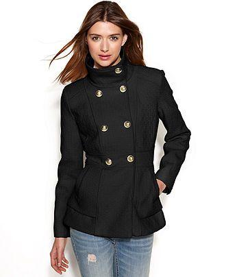 b06235cc6cb Jessica Simpson Double-Breasted Boucle Peacoat - Juniors Coats - Macy s