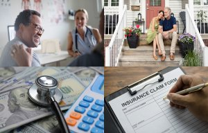 Key Lifestyle Factors When Choosing Medicare Coverage #doctoroffice collage of four images - a man in a doctor's office,  couple sitting on their front porch, stethoscope and calculator on top of currency, and an insurance claim form #doctoroffice