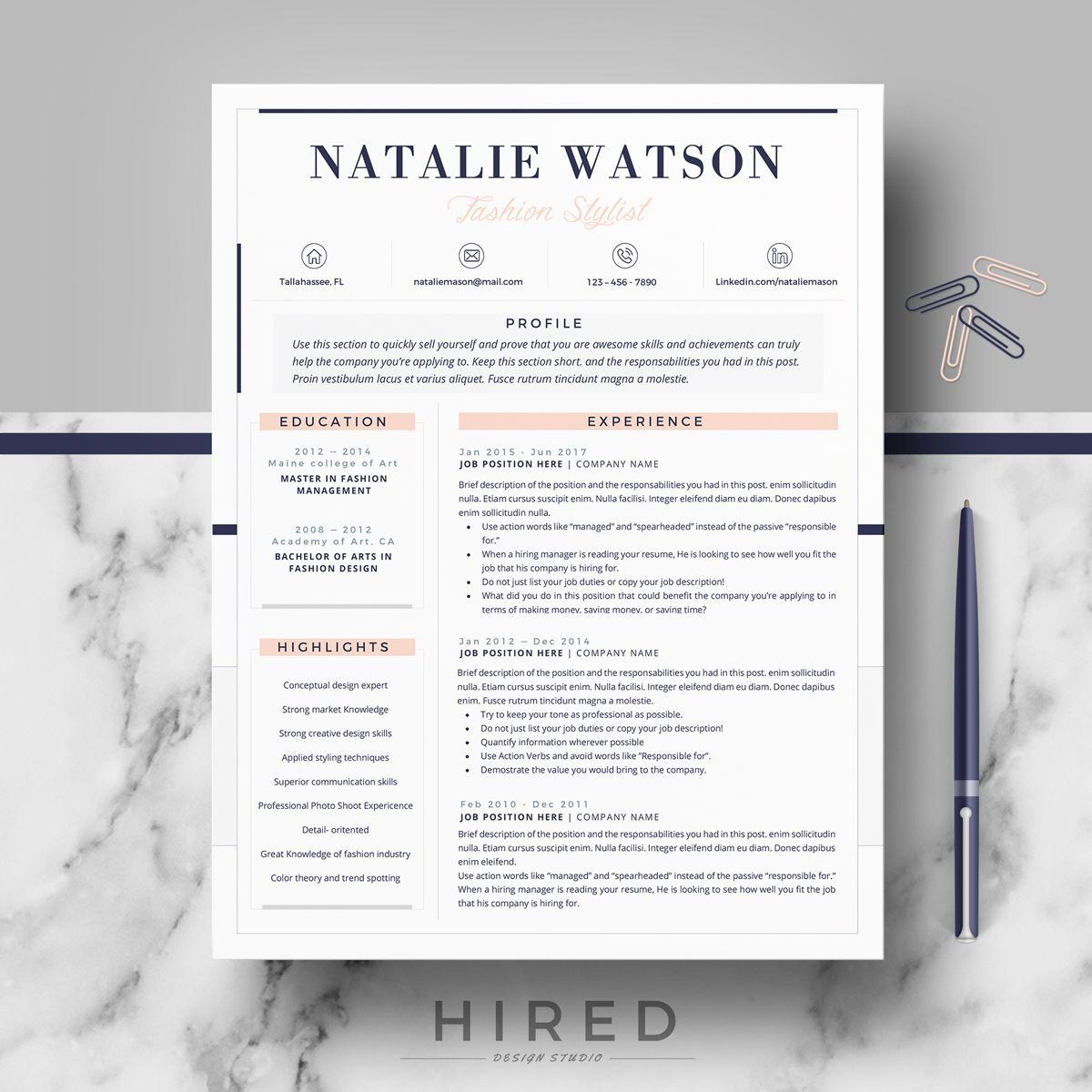 Creative & Professional Resume/CV Template; Modern Cv