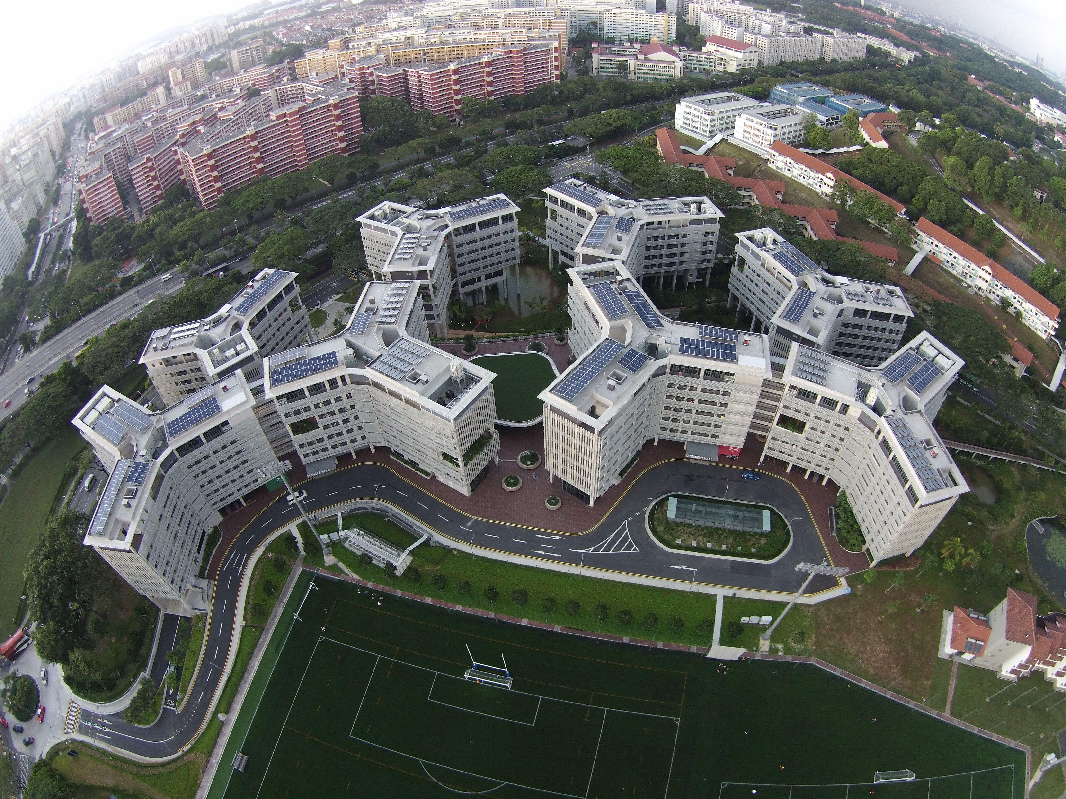 Yingli Solar Panels On The Roof Of The Nanyang Technological University  (Singapore) Halls Of