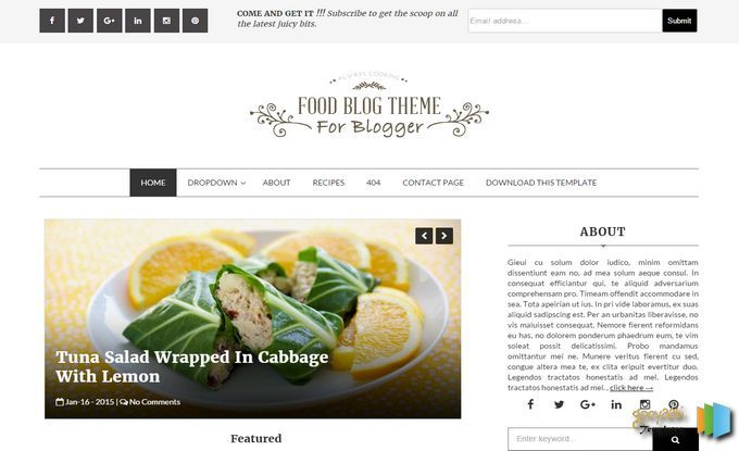 food blog blogger template specially made for food restaurant hotels and cooking niche blogs download free from gooyaabitemplates