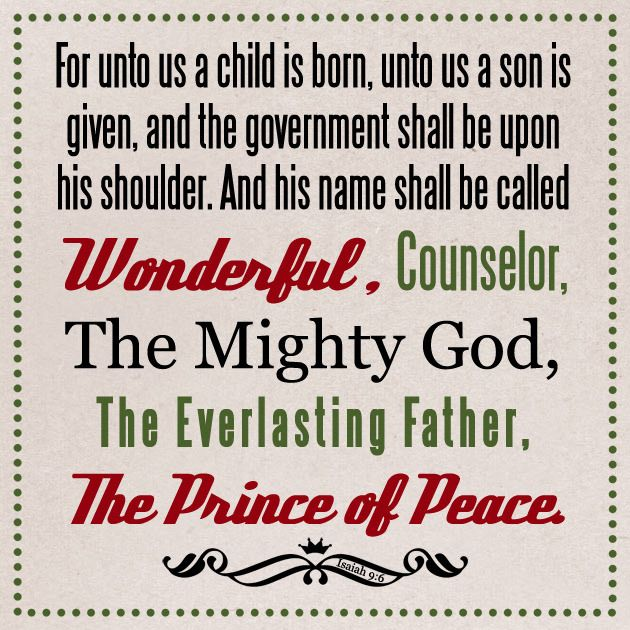 Isaiah 9 Verse 6 Bible Verses About Christmas