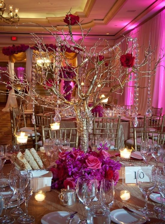 Fabulous Centerpiece At This Pink Uplighting Wedding Reception