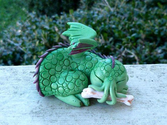 Sleeping Cutethulhu with Bone - Cthulhu Polymer Clay Sculpture