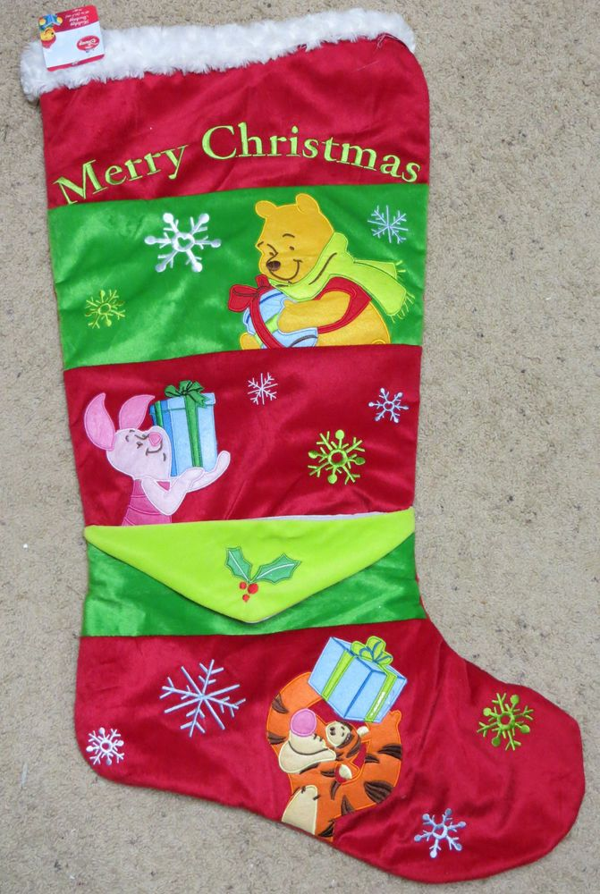 New Jumbo Disney Pooh Friends Christmas Stocking Tigger Piglet 36 ...