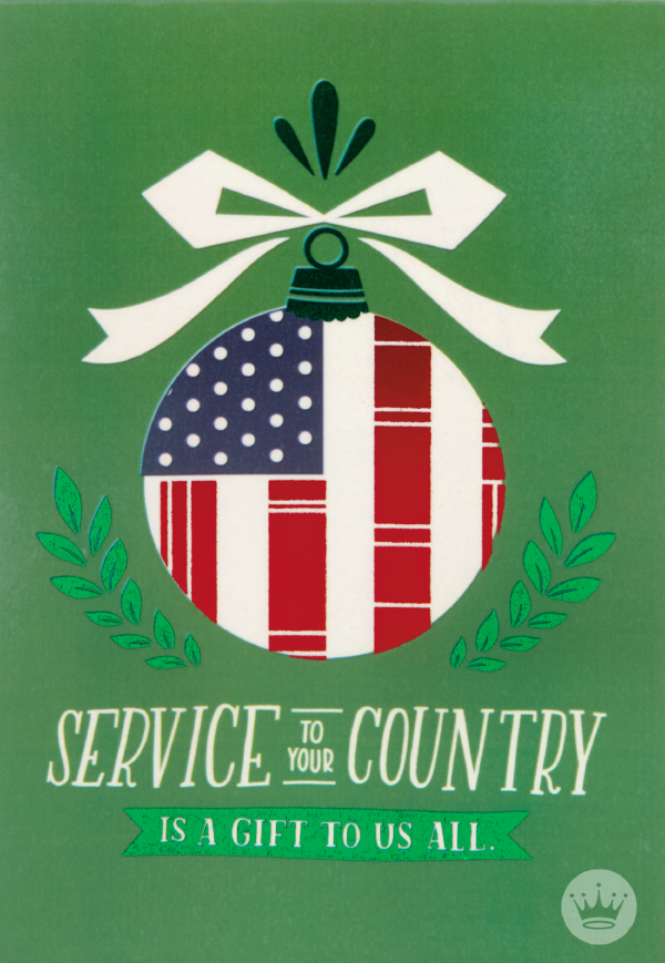 Patriotic Ornament Christmas Card for Veteran Homemade