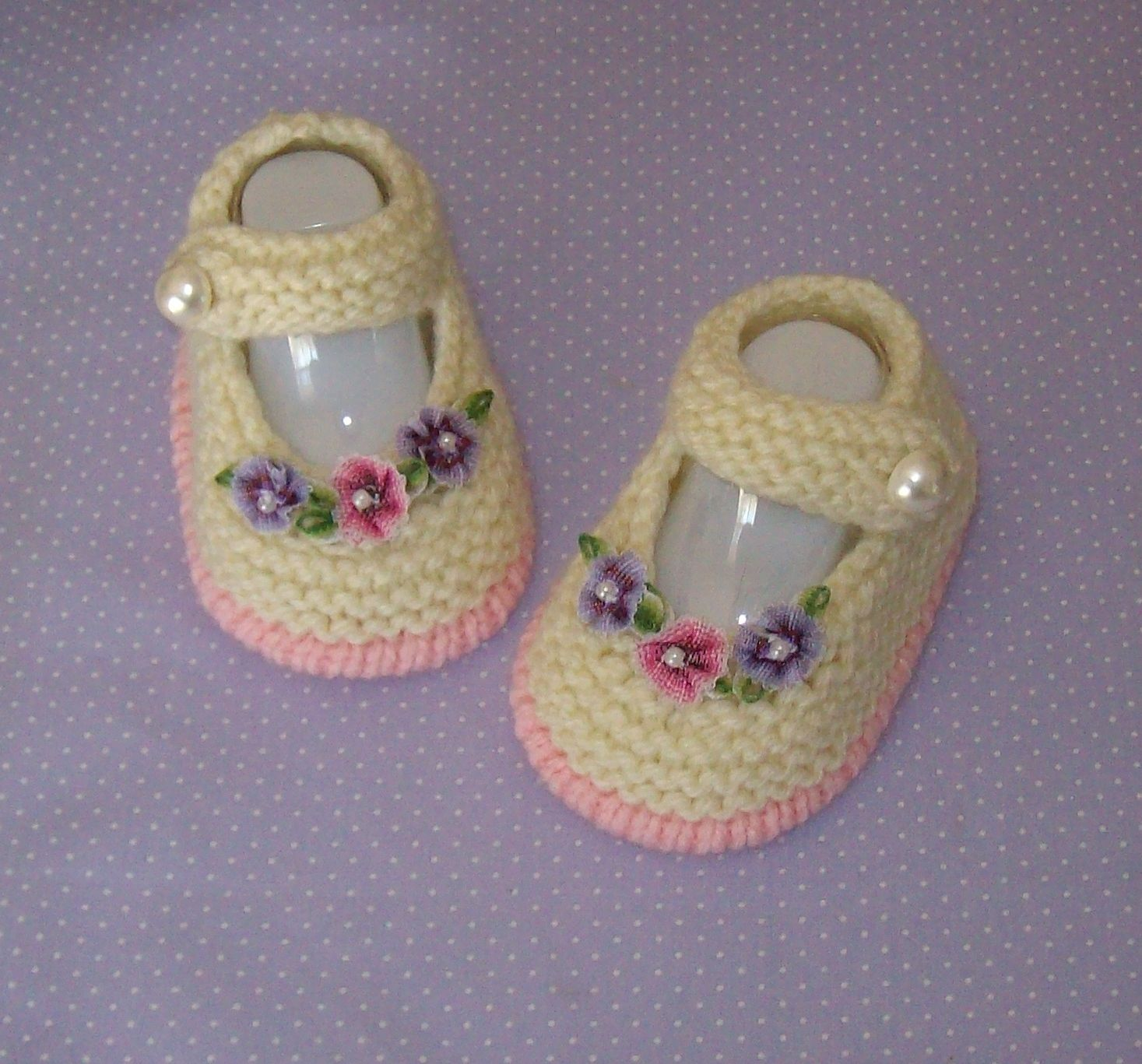 Hand knitted designer baby booties MARY JANE BOOTIES Available to