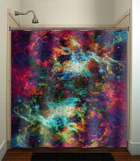 Nebula cosmos outer space rainbow galaxy shower curtain for Decor outer space
