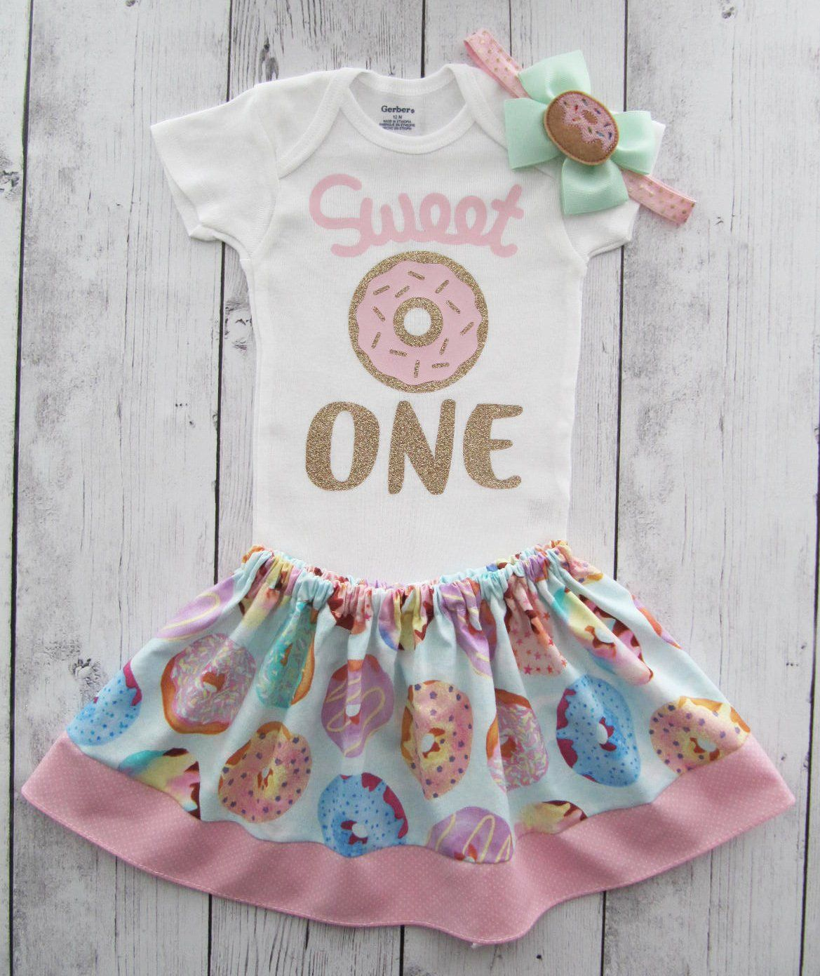 fb19507d1 Donut First Birthday Outfit for baby girl - donut grow up, sweet one, donut  first birthday party, donut 1st birthday outfit, donut shoes