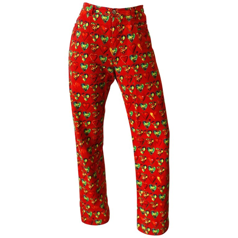 8e6197629f 1997 Versace Jeans Heart Printed Pants in 2019   Products   Versace ...
