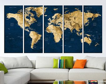 Navy blue push pin world map wall art canvas detailed old world navy blue push pin world map wall art canvas detailed old world travel map for gumiabroncs Image collections