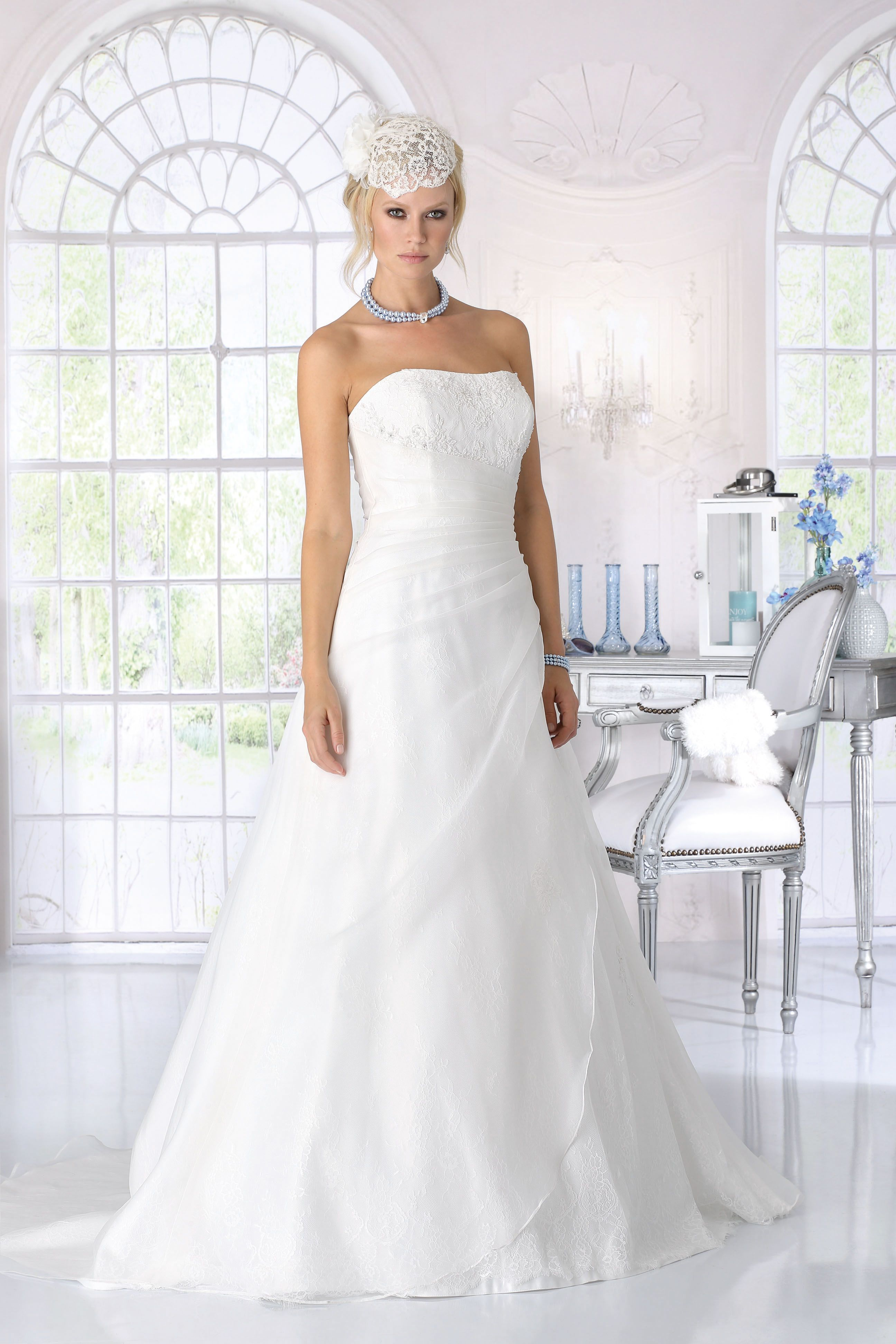 Orchid ruffle wedding dress by Tres Chic available from Caroline ...