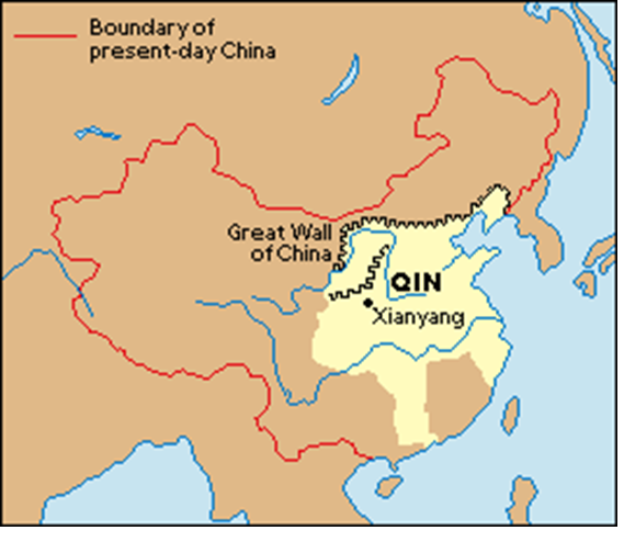 The Tan Area Of This Map Represents The Range Of Control Qin Shi