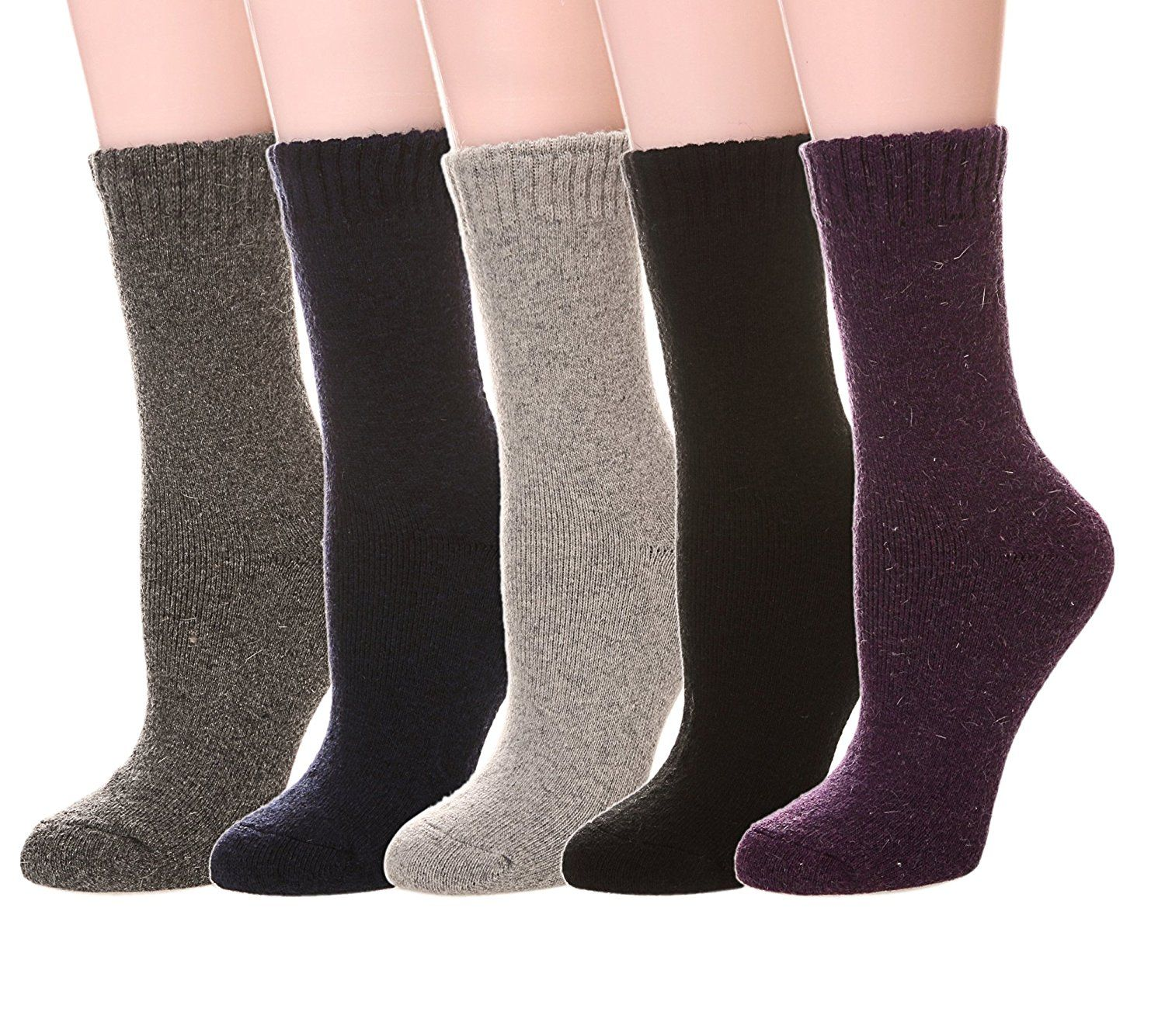 Color City Women's Super Thick Soft Knit Wool Warm Winter Crew Socks