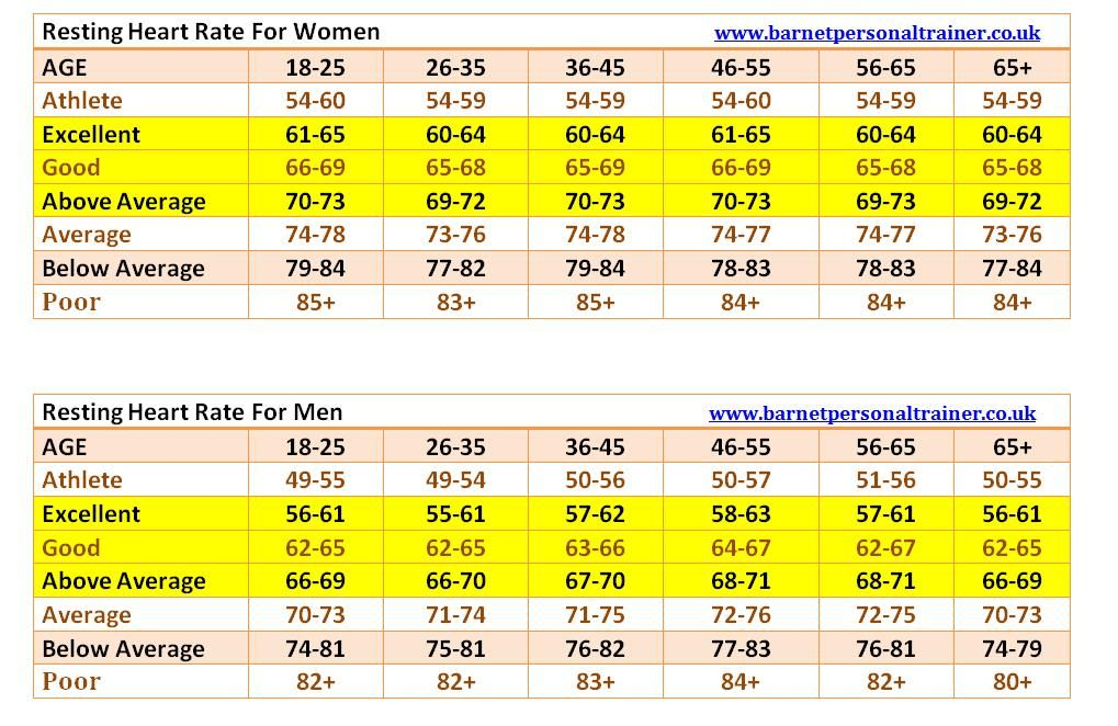 Resting Heart Rate Chart For Men And Women We Started Tracking