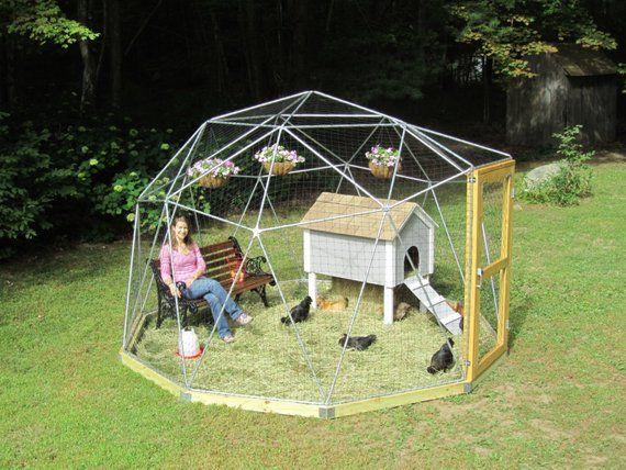 12 Ft Geodesic Dome Outdoor Aviary Chicken Enclosure Animal Pen Flight Cage With Avian Netting Kaninchengehege Hasengehege Hasen Gehege