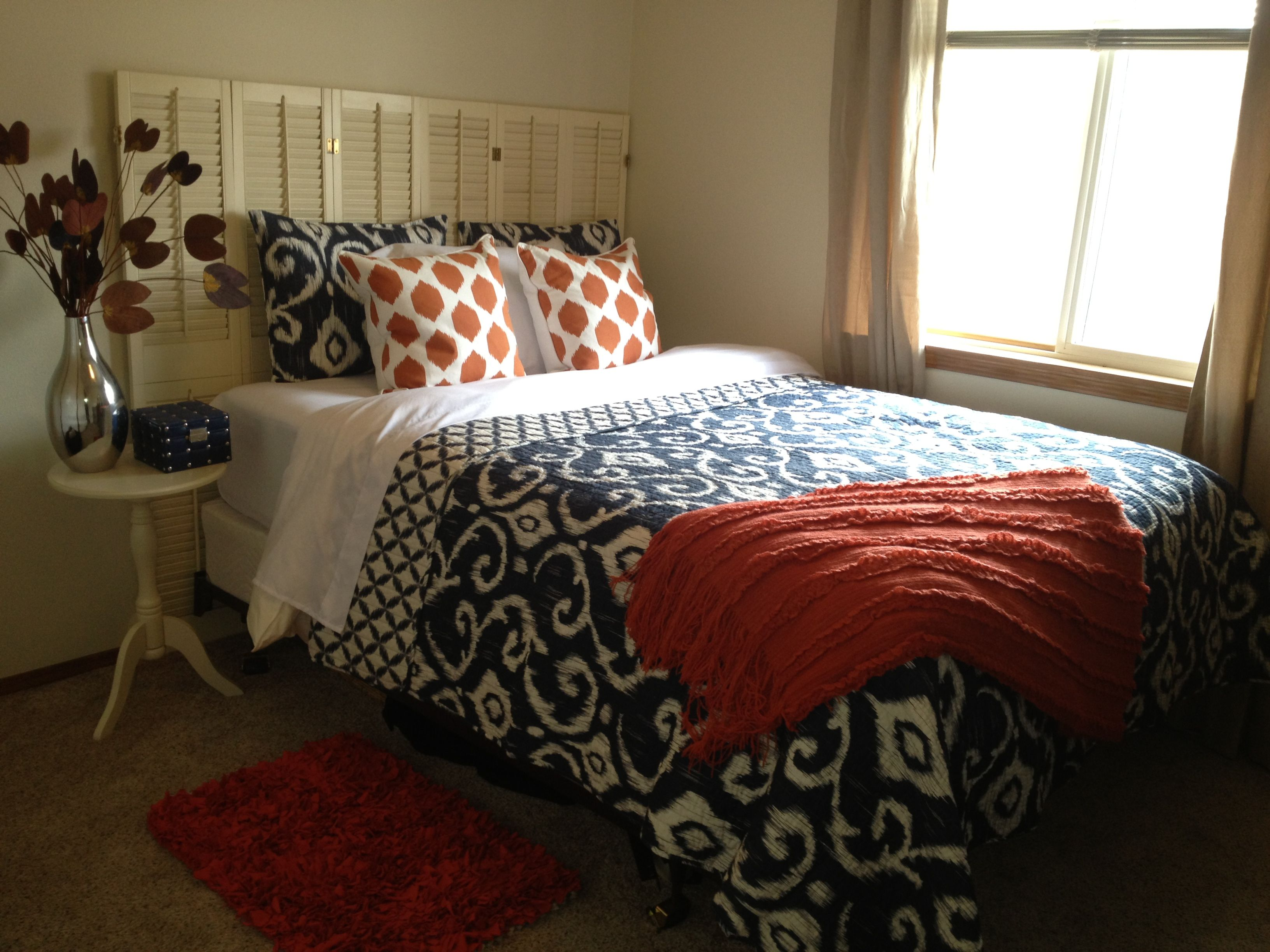 Master Bedroom Upgrades orange and navy bedroom | house upgrades | pinterest | navy