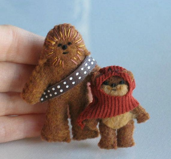RESERVED FOR ALICIA Ewok Chewbacca Jawa Yoda by wishwithme - RESERVED LISTING Ewok Chewbacca Yoda Felt Plush Star Wars Dolls