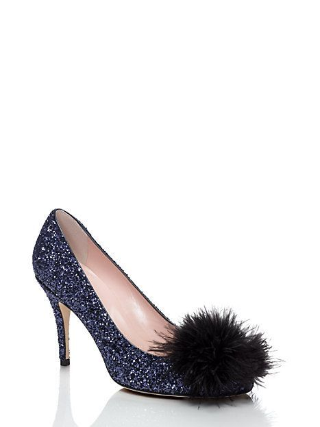 these fanciful heels--covered in sparkles and adorned with a toe-topping burst of feathers--will give any ensemble a lift.