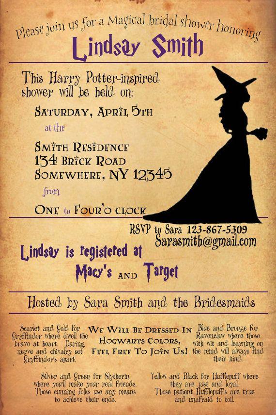 Harry Potter Bridal Shower Invitation | Bridal showers, Shower ...