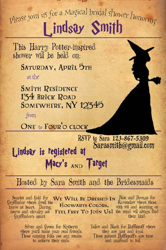 Harry Potter Bridal Shower Invitation Shower Invitations
