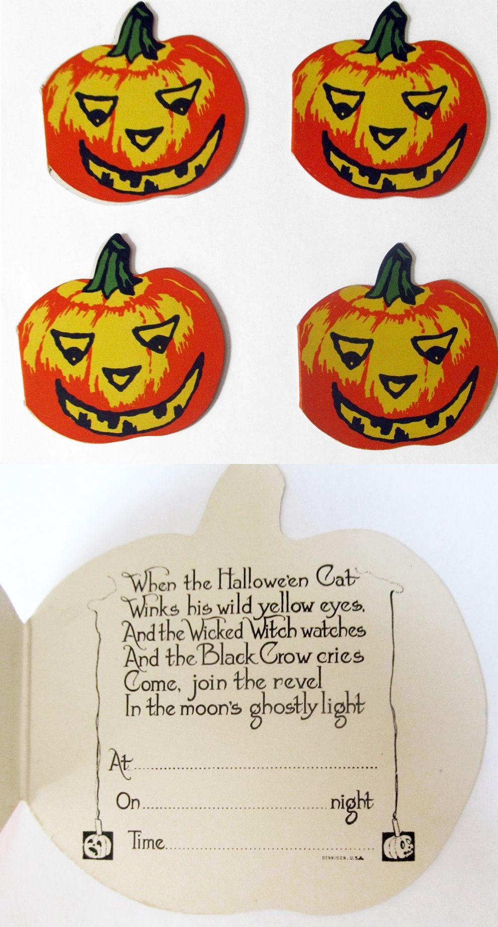4 Dennison Jack O\'Lantern Halloween party invitations. (Lot from ...