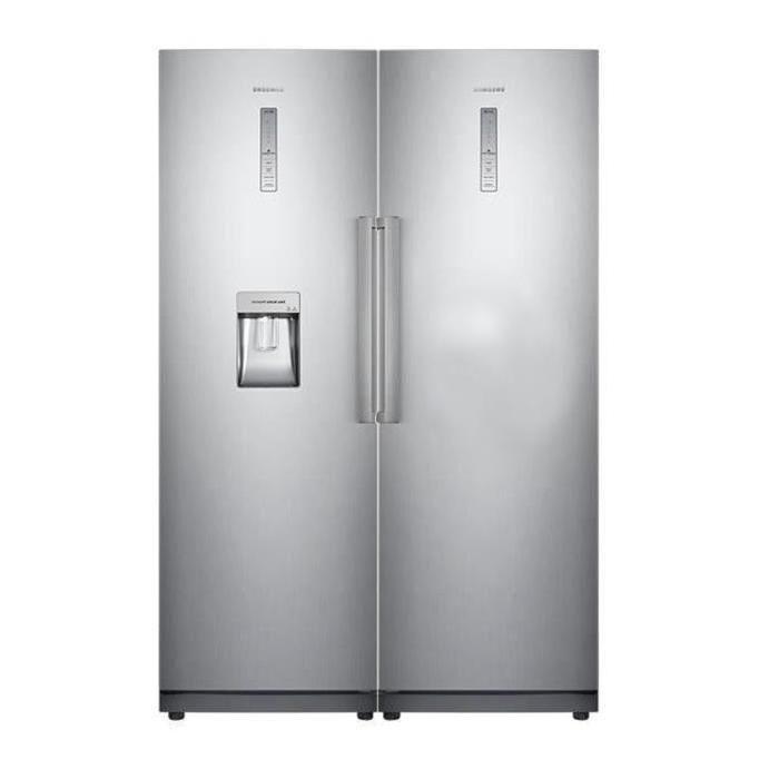 pack : réfrigérateur 1 porte 348l + congélateur armoire 277l inox