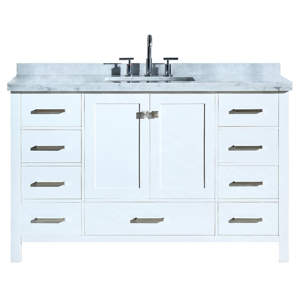 Ariel Cambridge 55 In Bath Vanity In White With Marble Vanity Top In Carrara White With White Basin A055scwrvowht The Home Depot Bathroom Vanity Bathroom Sink Vanity Single Bathroom Vanity