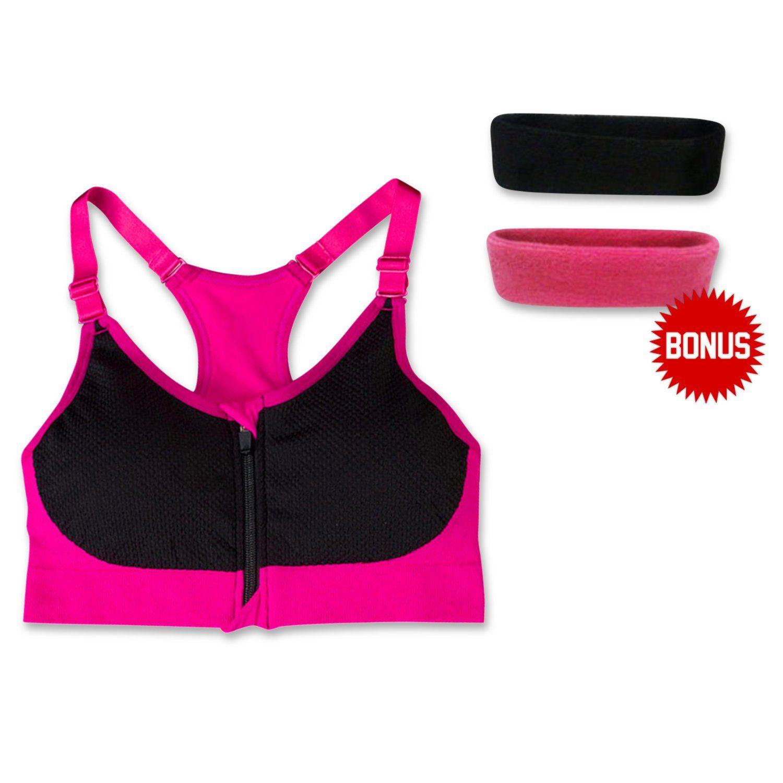 Women's Wirefree Padded Front Zip/ Zipper Closure Sports